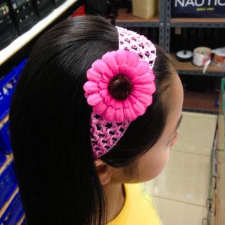 6 Colors Choices Cute Baby Girl Kid Head Hair Band 4cm Sun Flower Stretch A1507