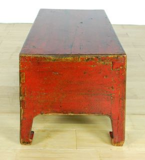 Antique Red Low Table Altar Stand Display Cabinet 29 5""