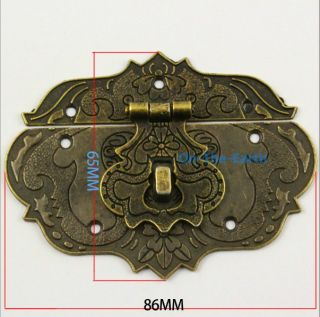4 Antique Brass Decorative Hasp Jewelry Box Hasp Lock Latch 86 65mm with Screws