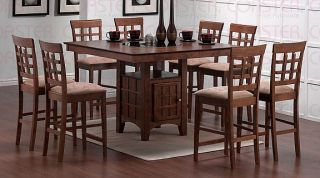 9 PC 4ft Square Walnut Bar Dining Table w 8 Barstools