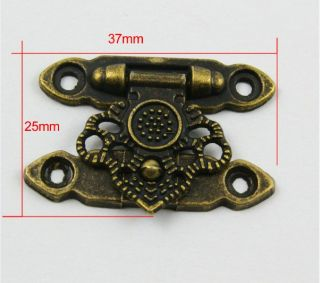 10 Antique Brass Decorative Hasp Jewelry Box Hasp Latch Lock 37x25mm with Screws