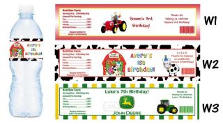 Farm Animals Zoo Printed Water Bottle Labels Birthday Party Favors Supplies