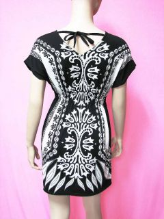 Women Summer Clothing Black White Tunic Shirt Top XL