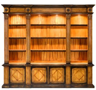 Large Bookcase Solid Walnut Tempered Glass Lights Hand Carved Made New Free SHIP
