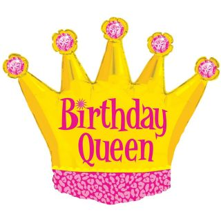 "XL 36"" Birthday Queen Gold Crown Girls Super Shape Mylar Foil Balloon Party"