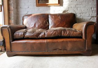 Antique Good Two Seater C 1930 Art Deco Period Leather Club Sofa Settee