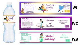 Jasmine Aladdin Printed Water Bottle Labels Birthday Party Favors Supplies