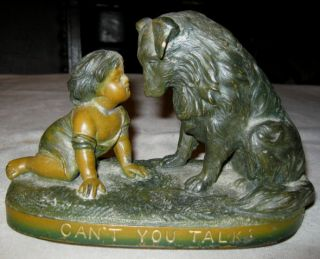 Antique G Ferrad Girl Collie Sheltie Dog Art Statue Sculpture Book Bookends