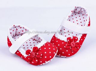 Red Mary Jane Toddler Baby Girl Polka Dot Soft Sole Shoes Newborn to 18 Months