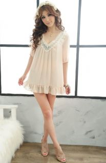 Sexy Womens Girls Chiffon Mini Dress Casual Cute Lace Babydoll Blouses Summer