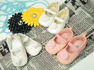 New Toddler Baby Girl Shiny White Pink Flower Mary Jane Shoes 6 9 12 Mos