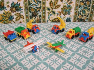 Vintage Lot of 8 West Germany Henschel Plastic Miniature Airplanes Trucks Toys