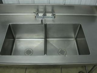 "84"" Stainless Steel Heavy Duty Work Prep Table w Two 2 Bowl Compartment Sink 7'"