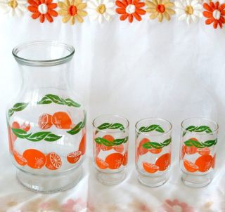 Vintage 1960s Anchor Hocking Orange Juice Retro Kitchen Kitsch Glass Pitcher Set