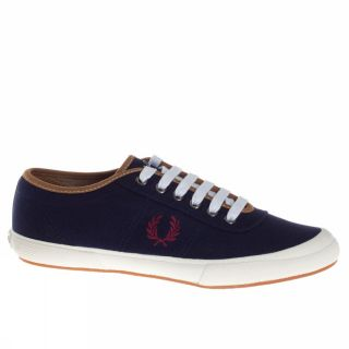 Fred Perry Woodford Canvas UK Size Dark Blue Eggplant Trainers Shoes Mens New