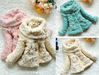 Baby Girls Toddler Kid Faux Fur Coat Clothes Winter Warm Jacket Clothing 2 5Year