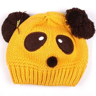 Pinup Baby Kid Girl Boy Panda Hat Knit Crochet Elestic Beanie Cap Yellow on Sale