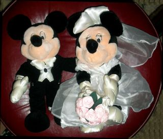 "14"" Disney Mickey Minnie Wedding Couple Plush Dolls"
