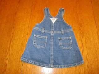 OshKosh Denim Jumper Dress Used Infant Baby Girls Clothing Clothes Size XL 12
