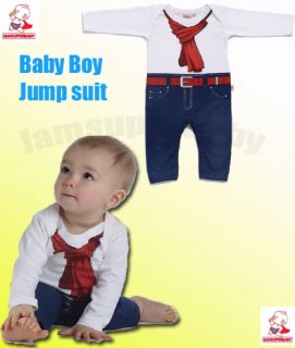 0 24M Cool Baby Boy Fake Print Cowboy Jeans Romper Outfit Bodysuit Clothes