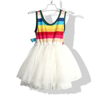 4 8 yrs Sweet Toddler Kids Girls Rainbow Tankdress Summer Dress Braces D103RB
