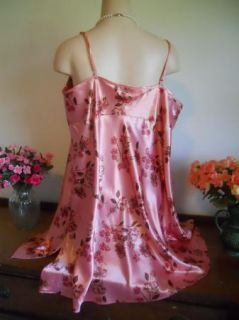 "Silky Dusty Rose Floral Poly Satin Baby Doll Nightgown 2X 48"" Bust"
