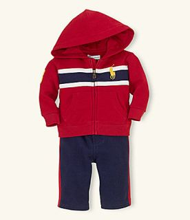 Ralph Lauren Baby Boy Polo Hoodie Big Pony Pant Outfit Set 6 MO New $55