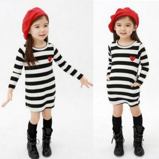 Girls Kids Top Eyes Stripe Dress Age4 5Y Long Sleeve School Party Casual Clothes