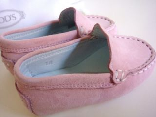 $165 Tod's Infants Baby Girl Gommini Slip on Suede Shoes US 3 EU 18