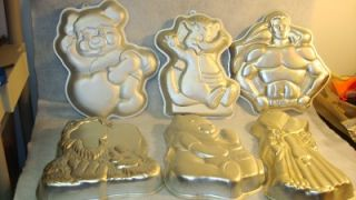 13 Wilton Cake Pans Superman ALF Mickey Wuzzle Pooh Garfield Hollie Hobby Vintag