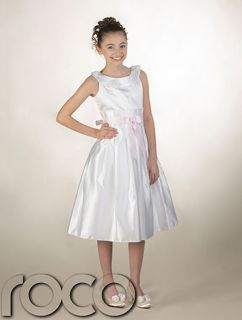 Girls White Dress with Baby Pink Waistband Wedding Flowergril Communion Dresses