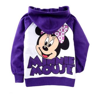 Purple Baby Kids Girls Fleece Minnie Long Sleeve Hoodie Coat 2 8 yrs 8041PU