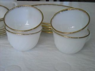 Vtg Lot 50th Anniversary White Swirl Fire King Dishes