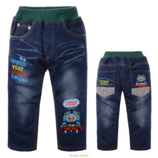 2 7 Years Blue Toddler Kids Boys Thomas Cars Fleece Jeans Winter Pants BH60B