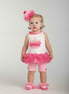 New Mud Pie Baby Girls Size 2T 3T Toddler Birthday Clothes Tunic Shorts