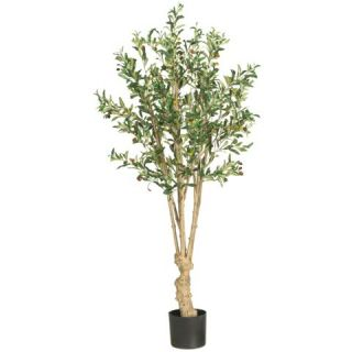 Decorative Natural Looking Artificial 5' Potted Olive Silk Tree Faux Fake Plants