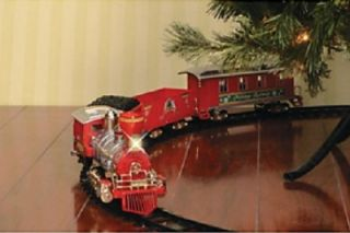 "Classic Large Red Moving Christmas Tree Train Set Light Sounds 148"" Track New"