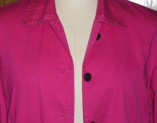 Chicos Hot Pink Fuchsia Orange Floral Soutache Trim Jacket Blazer Size Large XL