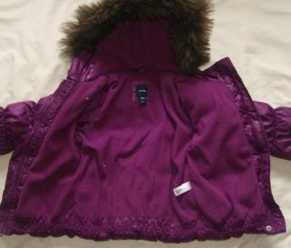 Baby Gap Girls 3T Purple Warmest Jacket Coat Down Winter Fur Trim Twins Puffer