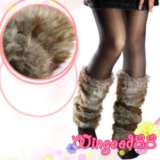 Trendy Women Lady Faux Fur Leg Muffs Warmer Boot Sleevee Cover Belt Buckle New