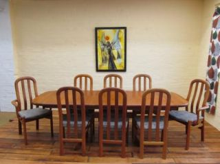 A Danish Modern Mid Century Teak Dining Table 8 Chairs Schou Andersen