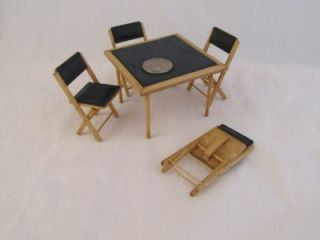 Doll House Furniture Card Table Four Folding Chairs Wood Padded Miniature Vtg