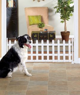 "Wooden Picket Fence Expanding Pet Gate 53"" Wide x 18"" High Keep Dog Behind Gate"