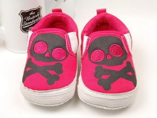 728 New Toddler Baby Girl Hot Pink Skull Shoes US 3 4
