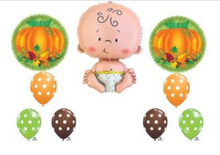 Lil Little Pumpkin Baby Shower Balloons Decorations Boy Girl Newborn Fall Cute