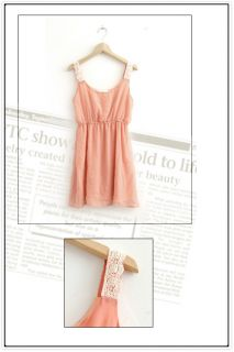 Cute Junior Girls Strapless Summer Chiffon Mini Dress Empire Waist Dresses Pink