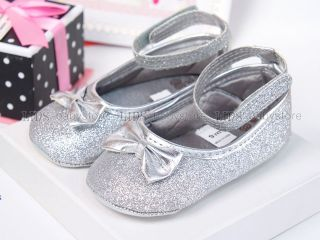 New Toddler Baby Girl Silver Golden Shiny Mary Jane Hard Sole Shoes 6 9 12 Month