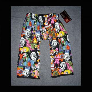 New Day of The Dead Skeleton Toddler Baby Pants Clothes Punk Sugar Skull Black