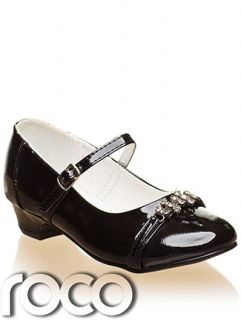 Girls Black Diamante Strap Formal Party Wedding Flower Girl Communion Shoes
