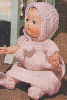 "11"" Baby Doll Clothes Set Dress Bonnet Knitting Pattern"